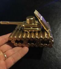 Army Tank Paperweight Desk Office Gold Finish Nearly 1lb of Boom Boom! Vg