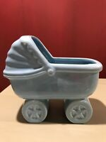 Vintage Ceramic Pottery Haeger USA Blue Planter Baby Stroller Carriage Buggy