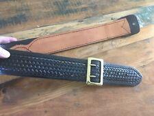 Tex Shoemaker 110 Cordovan Brown Basketweave Leather Belt Keeper Strap Police