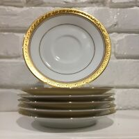 Noritake Crestwood Gold Set of 6 Saucers New
