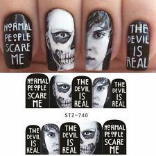 Nail Art Water Decals Stickers Transfers Halloween Vampire Graveyard Devil ST740