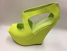 "New Ladies Lime Green Peep Toe Platform Shoes 6"" Heels DRAG/TV/CD/TG UK 7"
