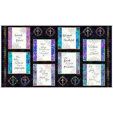 Religious Church Bible God Phrases Navy Cotton Fabric QT Faith 24