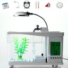Mini USB Aquarium with LCD Display Desktop Fish Tank LED Clock Table Lamp White
