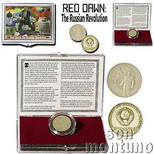 RED DAWN - 50th Anniversary Lenin Coin of Russian Revolution in Display Box+COA