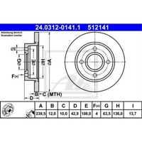 ATE 2x Bremsscheiben Voll beschichtet 24.0312-0141.1