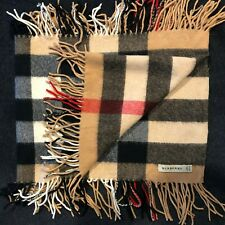 BURBERRY LONDON Authentic 100% Cashmere Giant Check Scarf 31x160cm & 9cm Fringe