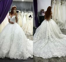 Princess Off Shoulder Wedding Dresses Bridal Ball Gown Sleeveless Appliques Lace