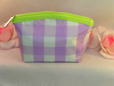 New Clinique Makeup Cosmetic Bag Case Purse Purple & White Checked  Travel Home