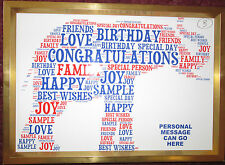 PERSONALISED BIRTHDAY/XMAS WORD ART PRINT - ELEPHANT DESIGN (B) GIFT