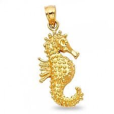 Sea Horse Pendant Solid 14k Yellow Gold Ocean Creature Charm Polished Quality