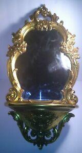 1970 Ornate Syroco Dart Wall Decor Mirror Shelf 2327 Hollywood Regency Gold
