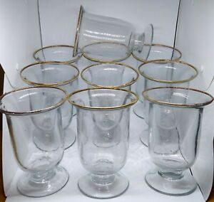 Glass Hurricane Candle/flowers Holders Gold rim Set of 10.