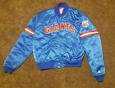 NEW YORK GIANYS NY SATIN STARTER JACKET SIZE XL VINTAGE BUTTON UP 80S 90S NFL