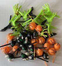 42 Halloween & Thanksgiving Cupcake Toppers Zombie Hand, Pumpkin, Turkeys, Bats