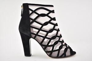 NIB Chanel 18C Black Mesh Suede Strappy Caged Sandal Heel Pump Short Bootie 41