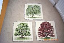 3 x Ehrman completed needlepoint tapestries Beech Willow Oak Tree by David Merry