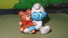Smurfs Baby Smurf with Teddy Bear 20205 Rare Vintage Macau Display Figurine