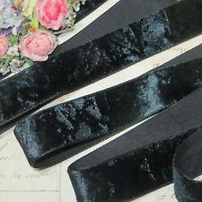 """1"""" Vtg French Black Panne Crushed Velvet Ribbon Trim Victorian Doll Dress Antq"""