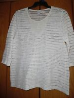 WOMEN CHICO'S IVORY SEE THRU BEADED 3/4 SLEEVE   TOP SHIRT TUNIC SZ 3