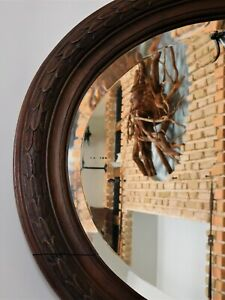 1900ca ANTIQUE MIRROR WOOD CARVED OVAL LARGE MIRROR ORIGINAL BEVELED GLASS