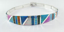 ".950 silver mulyi-colored opal bracelet with long curved centerpiece 8"" long"