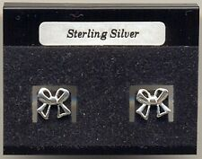 Ribbon Bow Sterling Silver 925 Studs Earrings Carded