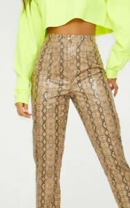 Prettylittlething Taupe Faux Leather Snakeskin Snake Print Trousers Size 10