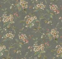 Wallpaper Designer Tan Coral Teal Green Off White Floral on Gray Shiny Faux