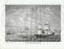 Stampa antica MONTEVIDEO veduta dal mare velieri Uruguay 1871 Old Antique print