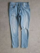 Levis 501 Skinny High Rise Light Blue Ripped Jeans Size 14 W32 L32 Womens