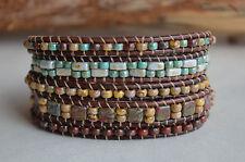 Five Wrap Bracelet Multi Color Beaded Leather Wrap Fashion Jewelry Handmade