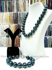 14mm South Sea Black Shell Pearl Necklace bracelet Earrings Set AAA Grade