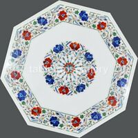 """18"""" Marble White Coffee Table Top Lapis Carnelian Floral Inlay Home Decors W409"""