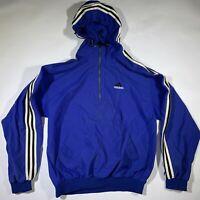 Vintage 90s Adidas Anorak Pullover Zip Hoodie Windbreaker Jacket Mens Small