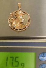 CUSTOM ESTATE 14K Rose White Gold MOSES 10 COMMANDMENTS Diamond Pendant HUGE!