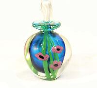 Blown Art Glass Perfume Bottle w. Stopper Blue w Purple Flowers Decor Vintage