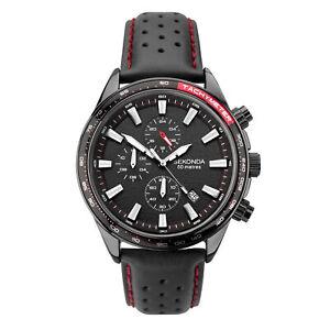 Sekonda Chronograph Quartz Black Dial Leather Strap Mens Watch 1787 RRP £89.99