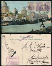 ARGENTINA to RHODESIA 1912 PPC DOCKS + SHIPS + E.A SIVORI DISTRIBUTOR HANDSTAMP