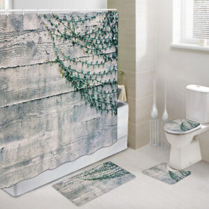 4Pc Set Rustic wooden barn wall Art Fabric Shower Curtain Toilet Mat Contour Rug