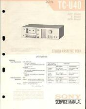 Sony ORIGINAL SERVICE MANUAL pour TC-U 40