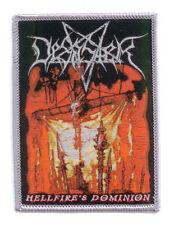 DESASTER Woven Patch HELLFIRE´S DOMINION Aufnäher silver border  Teutonic Steel