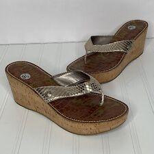 596c1facc Sam Edelman Cork Flip Flops Sandals 9.5 Gold Metallic