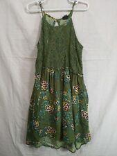 ART CLASS Girl's Green Floral High Neck Sleeveless Midi Dress size M(7/8)