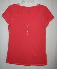 Old Navy Womens Size M Short Sleeve Coral Cotton Button Top Shirt