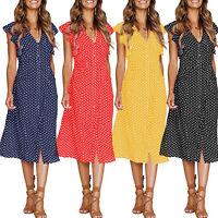 Ladies Women Summer Beach V-neck Polka Dot Midi Dress Holiday Button Sundress