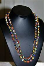 "Vintage Venetian Millefiori Murano Beads Long 44"" Lovely Necklace NG10"