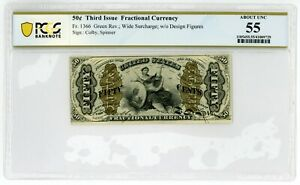 🔸USA 50 CENTS 1863 P-114i Fr#1366 FRACTIONAL CURRENCY A-2-6-2 aUNC PCGS 55