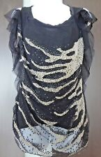 1.5K Auth VALENTINO Couture Crystal & Sequin CHIFFON Overlay TOP T-Shirt BLOUSE