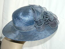 Chic Chapeau capeline femme cérémonie bleu Neuf paille naturel